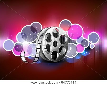 Film reel on abstract shiny background.