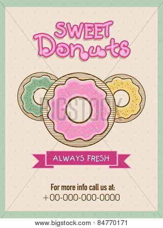 Vintage menu card design for sweet donuts shop or restaurant.
