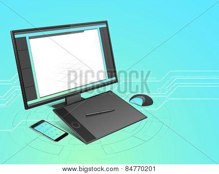Smart technology device set like desktop, tablet, smartphone, and mouse on high-tech background.