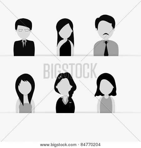 Set of young business characters.
