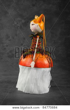 cute puppet handmade, fairy, gray background