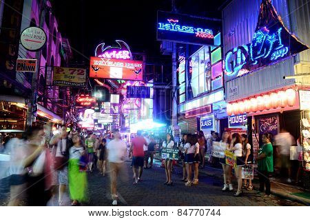 crowded walking street at Pattaya