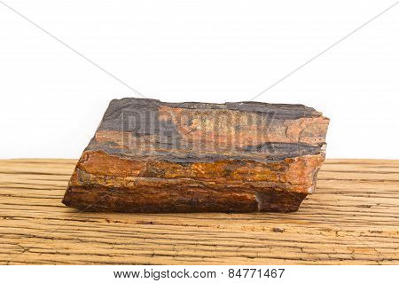 Brown Petrified Wood Oak Surface White Background.