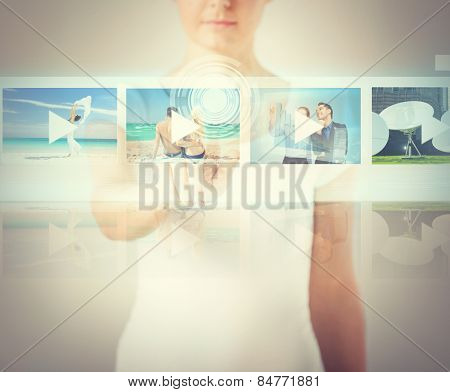 technology, internet and networking concept - woman pressing button on virtual screen