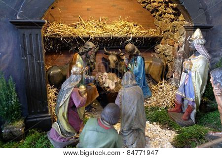 GRAZ, AUSTRIA - JANUARY 10, 2015: Nativity scene, creche, or crib, birth of Jesus in Barmherzigenkirche church in Graz, Styria, Austria on January 10, 2015.
