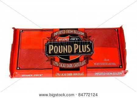 Hayward, CA - February 22, 2015: 17.6 oz bar of Trader Joes Brand Pound Plus Dark Chocolate imported from Belgium - Illustrative editorial