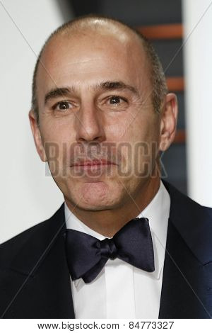 LOS ANGELES - FEB 22:  Matt Lauer at the Vanity Fair Oscar Party 2015 at the Wallis Annenberg Center for the Performing Arts on February 22, 2015 in Beverly Hills, CA