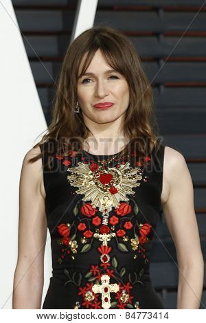 LOS ANGELES - FEB 22:  Emily Mortimer at the Vanity Fair Oscar Party 2015 at the Wallis Annenberg Center for the Performing Arts on February 22, 2015 in Beverly Hills, CA