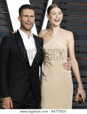 LOS ANGELES - FEB 22:  Adam Levine, Behati Prinsloo at the Vanity Fair Oscar Party 2015 at the Wallis Annenberg Center for the Performing Arts on February 22, 2015 in Beverly Hills, CA