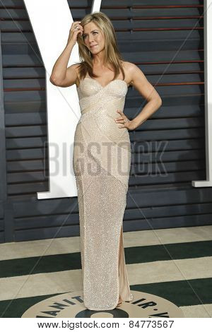 LOS ANGELES - FEB 22:  Jennifer Aniston at the Vanity Fair Oscar Party 2015 at the Wallis Annenberg Center for the Performing Arts on February 22, 2015 in Beverly Hills, CA