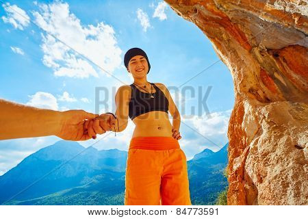 girl climber in a cave