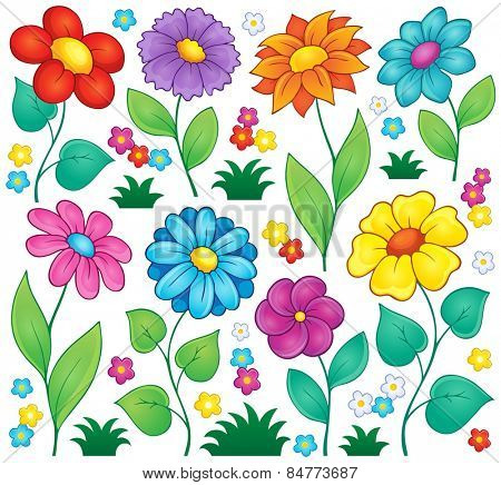 Flower theme collection 7 - eps10 vector illustration.