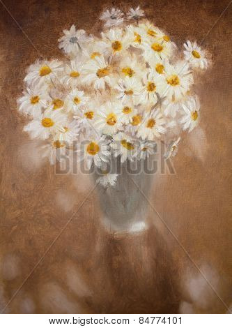Oil painting with bouquet of white chamomiles