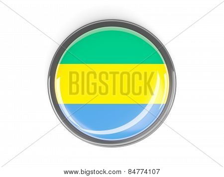 Round Button With Flag Of Gabon