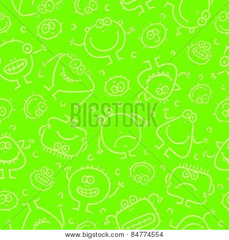 Seamless pattern with little monsters