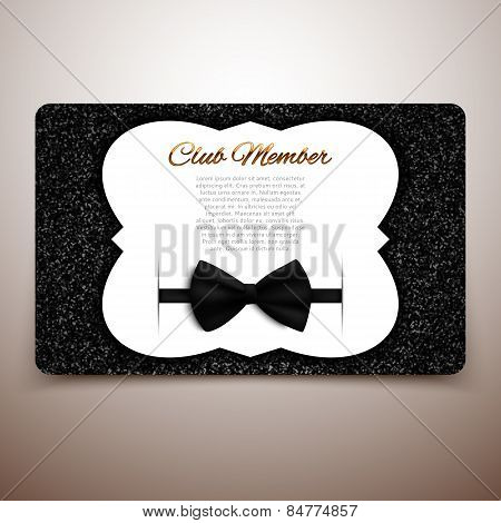 Club Member Vector Card Template, Gentlemen Club, Vip Card, Black Bow