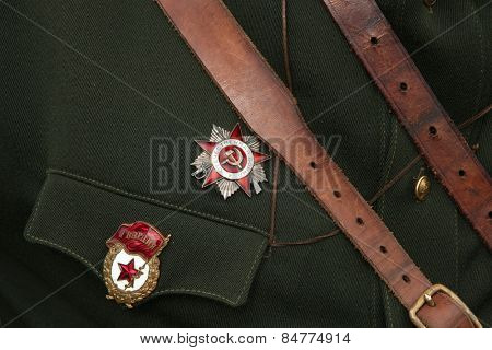 ORECHOV, CZECH REPUBLIC - APRIL 27, 2013: Soviet military decoration seen during the re-enactment of the Battle at Orechov (1945) near Brno, Czech Republic.