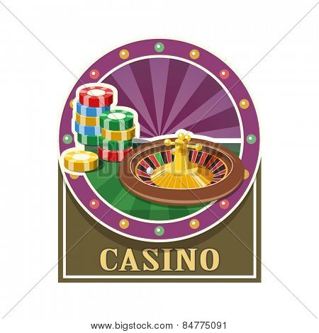 Casino. Roulette and counter. Vector illustration. Isolated on white background