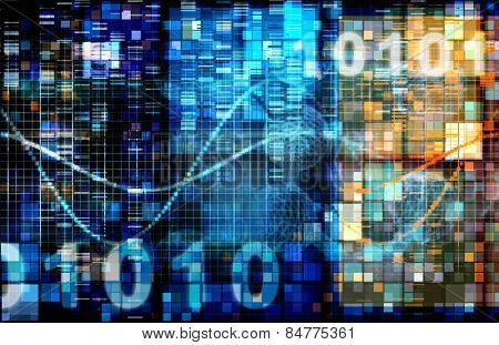 Digital Image Background with Binary Code Technology