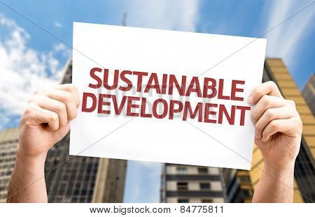 Sustainable Development card with urban background