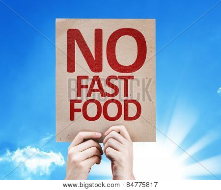 No Fast Food card with sky background