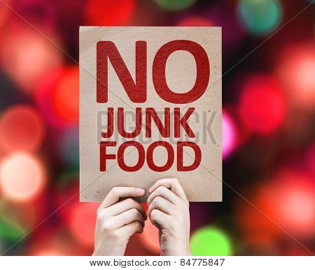 No Junk Food card with colorful background with defocused lights