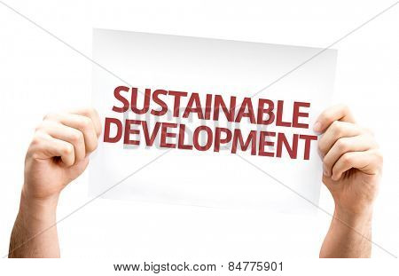 Sustainable Development card isolated on white background