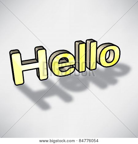 3D Word Hello Yellow With Shadow