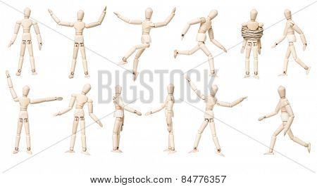 Large group of Mannequin Dolls with different expression isolated on white background