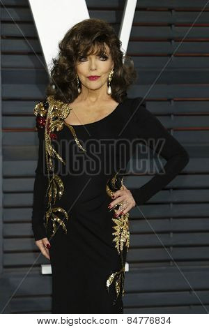 LOS ANGELES - FEB 22:  Joan Collins at the Vanity Fair Oscar Party 2015 at the Wallis Annenberg Center for the Performing Arts on February 22, 2015 in Beverly Hills, CA