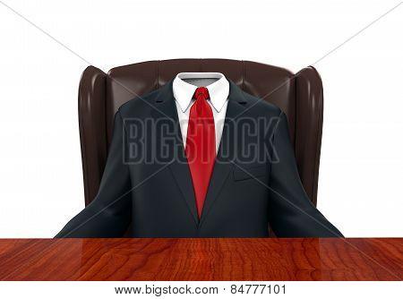 Empty Suit Figure Sitting
