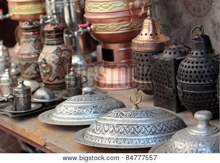 Turkish bronze and silver dishware