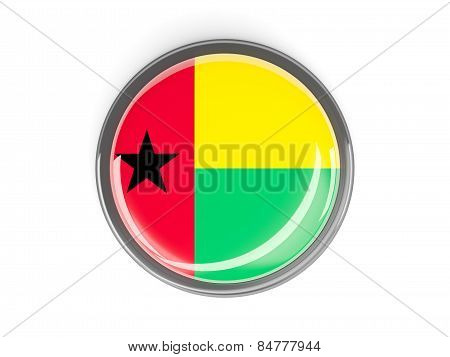 Round Button With Flag Of Guinea Bissau