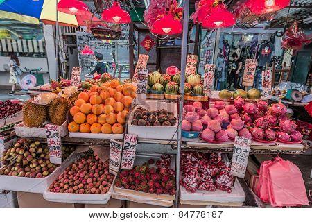 Kowloon, Hong Kong- June 9, 2014: Mong Kok tropical fruit market stall