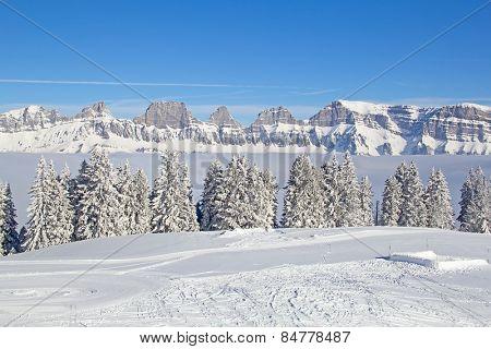Typical swiss winter season landscape. February 2015, Switzerland.