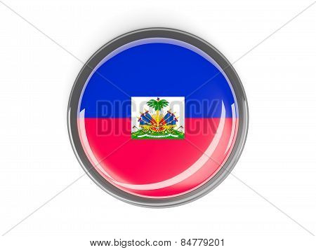Round Button With Flag Of Haiti