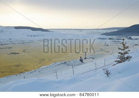 Korshunov iron ore deposit quarry. Irkutsk region, Zheleznogorsk-Ilim