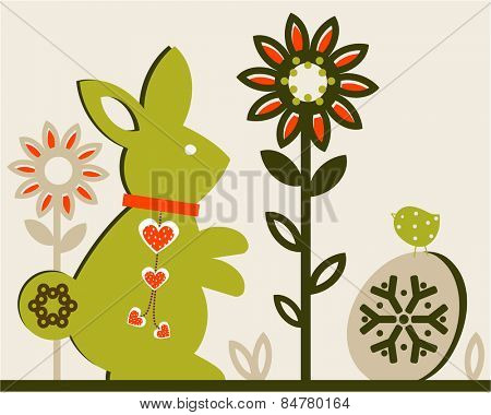 Easter rabbit egg flowers egg and birdie - hearts dangling from the neckband