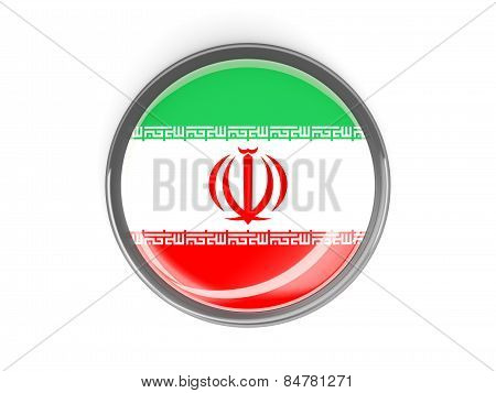 Round Button With Flag Of Iran