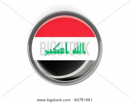 Round Button With Flag Of Iraq