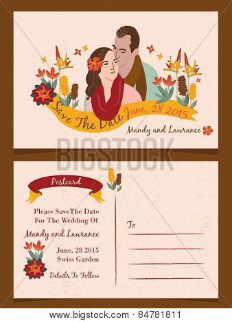 Wedding illustration Invitation/ Save The Date / Just Married Cards 1
