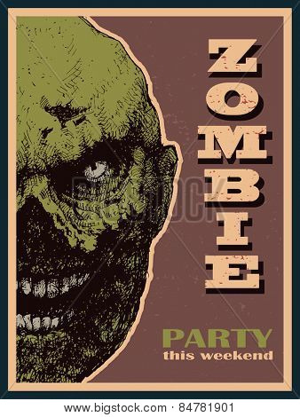 Vector Halloween zombie party banner. Vector illustration.