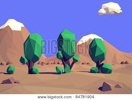 Trendy low-poly style  landscape illustration