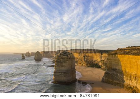 Sunset Cloudy At Twelve Apostles Attractions On Green Ocean Road