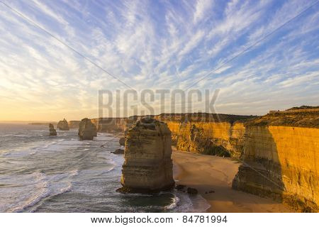 Sunset Time At Twelve Apostles Attractions On Green Ocean Road