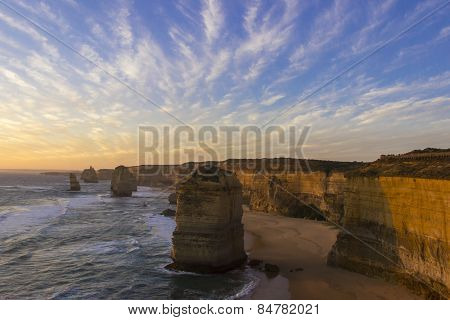 Before Sunset At Twelve Apostles Location On Green Ocean Road