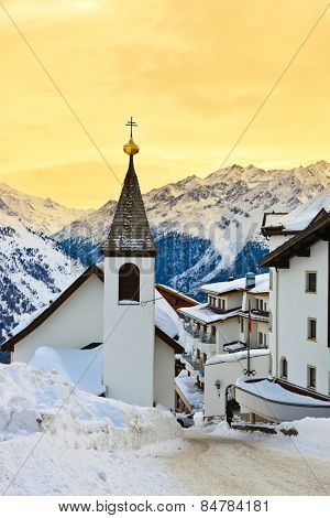 Church at mountains ski resort Solden Austria - nature and architecture background