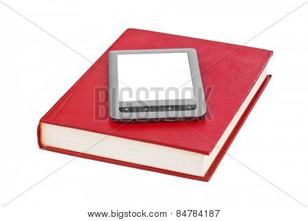 E-book reader and book isolated on white background