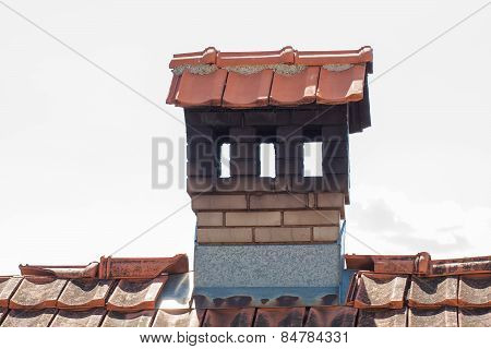 Close Up Chimney Like A Little House On The Roof