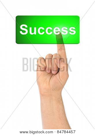 Hand and button Success isolated on white background